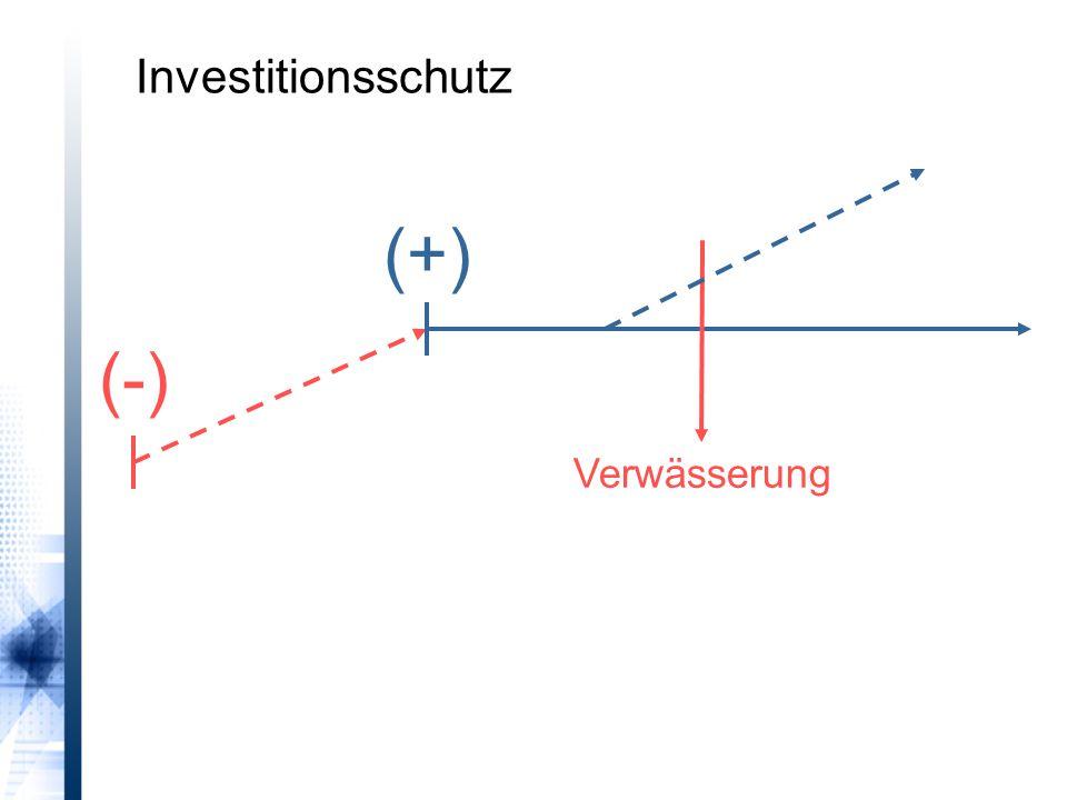 Verwässerung (-) (+) Investitionsschutz