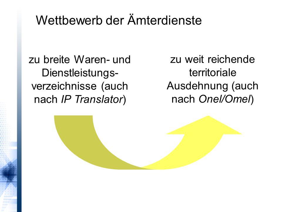 zu breite Waren- und Dienstleistungs- verzeichnisse (auch nach IP Translator) zu weit reichende territoriale Ausdehnung (auch nach Onel/Omel) Wettbewerb der Ämterdienste