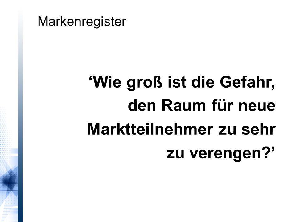 'Wie groß ist die Gefahr, den Raum für neue Marktteilnehmer zu sehr zu verengen ' Markenregister