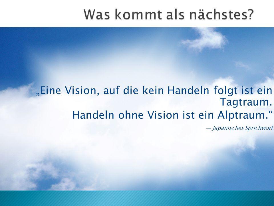 """""""Eine Vision, auf die kein Handeln folgt ist ein Tagtraum. Handeln ohne Vision ist ein Alptraum."""" — Japanisches Sprichwort"""