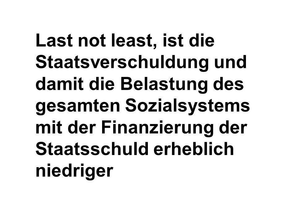 Last not least, ist die Staatsverschuldung und damit die Belastung des gesamten Sozialsystems mit der Finanzierung der Staatsschuld erheblich niedriger