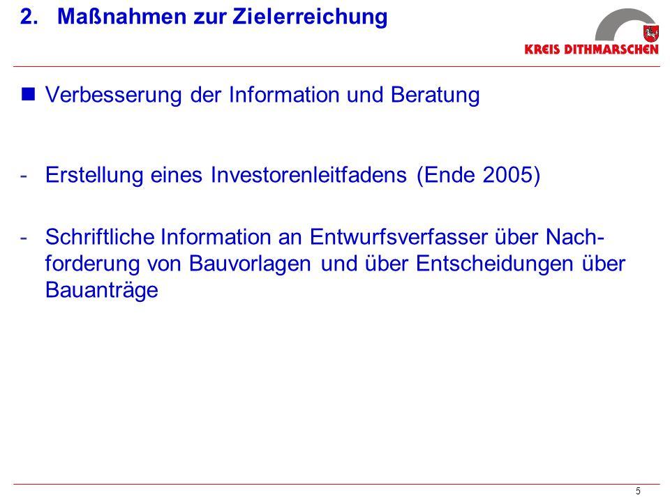5 2. Maßnahmen zur Zielerreichung Verbesserung der Information und Beratung -Erstellung eines Investorenleitfadens (Ende 2005) -Schriftliche Informati