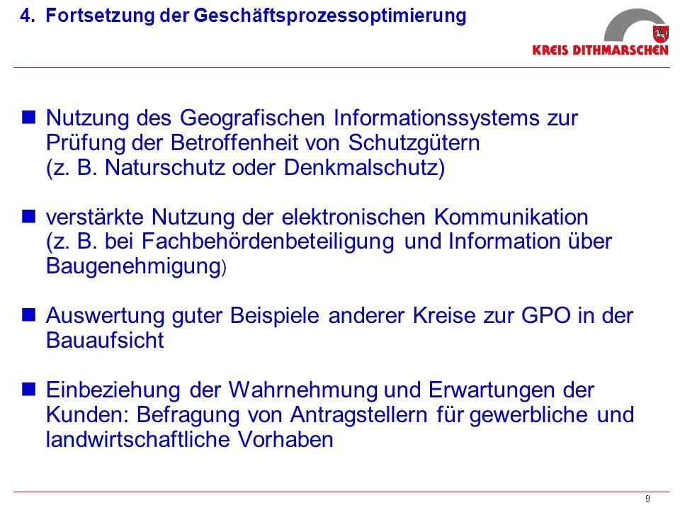 9 4. 4.Fortsetzung der Geschäftsprozessoptimierung Nutzung des Geografischen Informationssystems zur Prüfung der Betroffenheit von Schutzgütern (z. B.