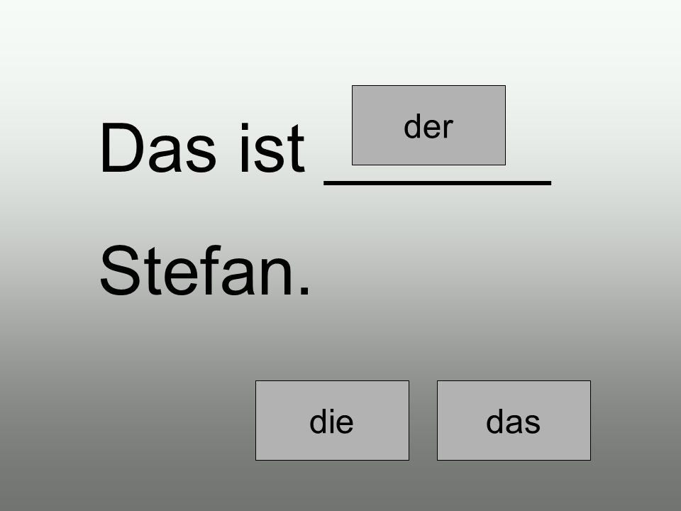 Ich glaube, das ist _____ Stefan. diedasder