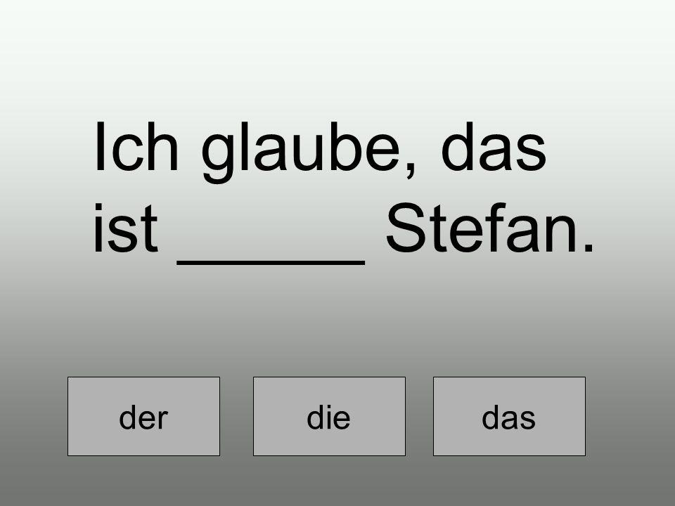 Ich glaube, das ist _____ Stefan. der diedas