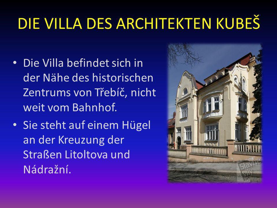 DIE VILLA DES ARCHITEKTEN KUBEŠ Die Villa befindet sich in der Nähe des historischen Zentrums von Třebíč, nicht weit vom Bahnhof. Sie steht auf einem
