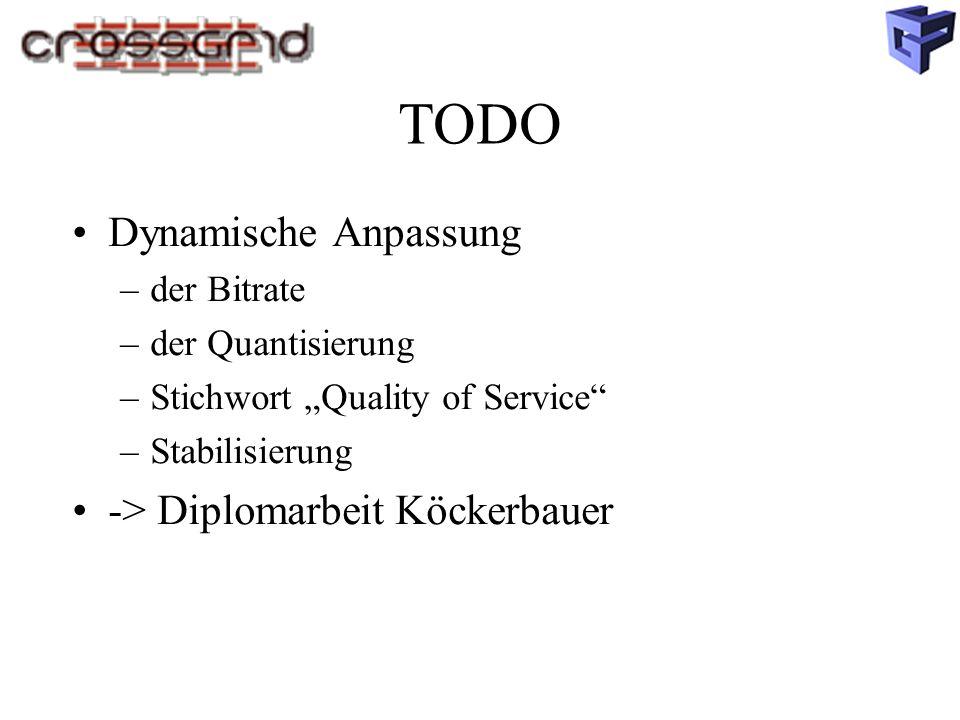 """TODO Dynamische Anpassung –der Bitrate –der Quantisierung –Stichwort """"Quality of Service –Stabilisierung -> Diplomarbeit Köckerbauer"""