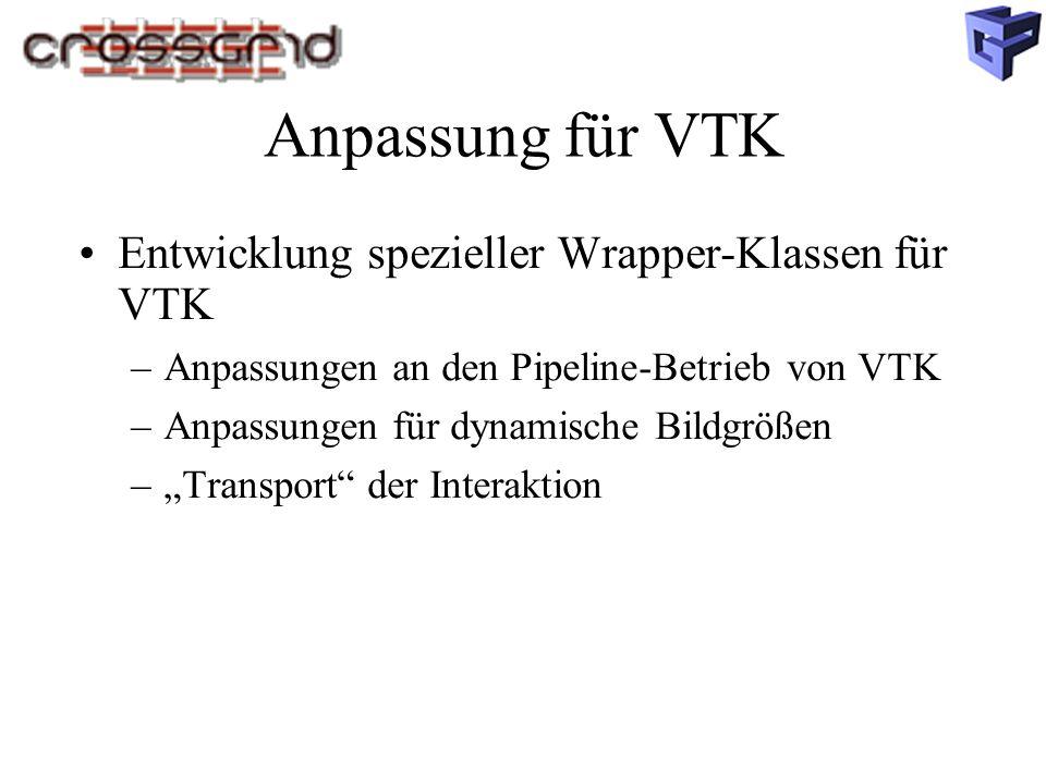 """Anpassung für VTK Entwicklung spezieller Wrapper-Klassen für VTK –Anpassungen an den Pipeline-Betrieb von VTK –Anpassungen für dynamische Bildgrößen –""""Transport der Interaktion"""