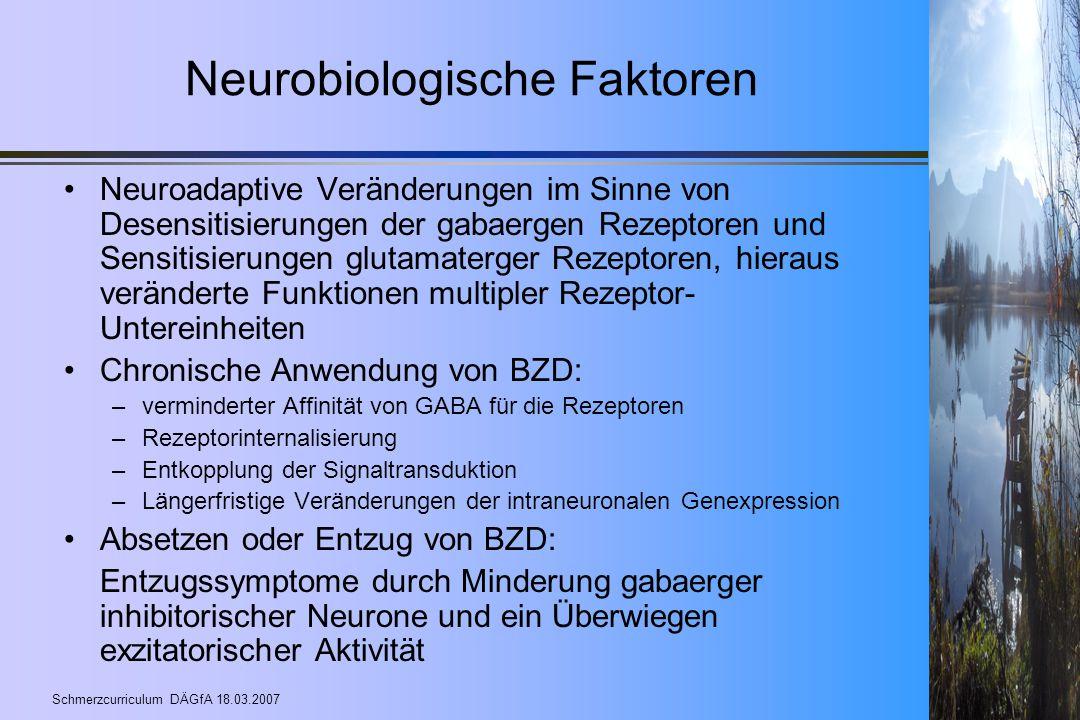 Schmerzcurriculum DÄGfA 18.03.2007 Neurobiologische Faktoren Neuroadaptive Veränderungen im Sinne von Desensitisierungen der gabaergen Rezeptoren und