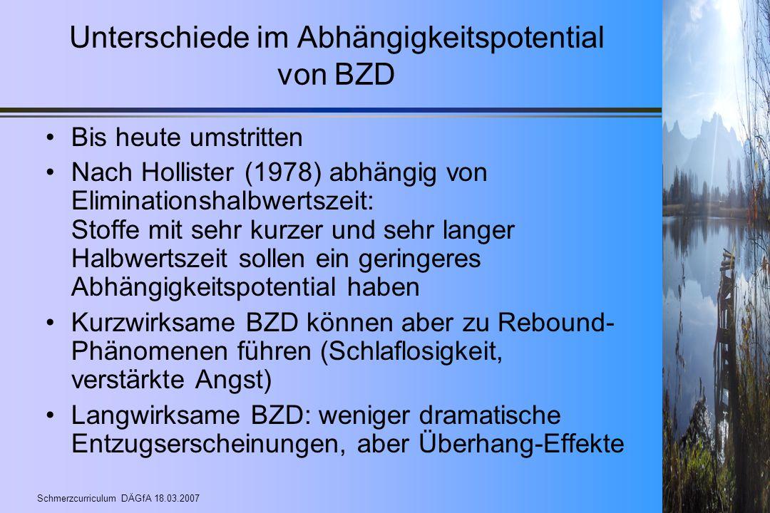 Schmerzcurriculum DÄGfA 18.03.2007 Unterschiede im Abhängigkeitspotential von BZD Bis heute umstritten Nach Hollister (1978) abhängig von Eliminations