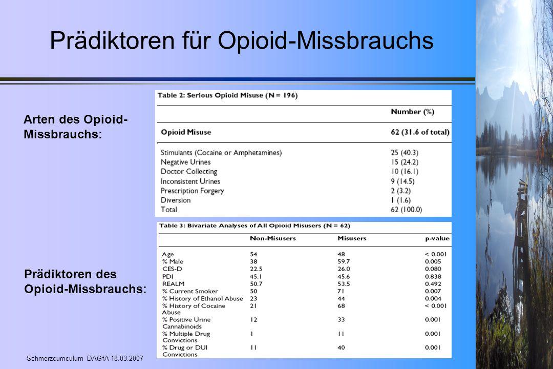 Schmerzcurriculum DÄGfA 18.03.2007 Prädiktoren für Opioid-Missbrauchs Arten des Opioid- Missbrauchs: Prädiktoren des Opioid-Missbrauchs: