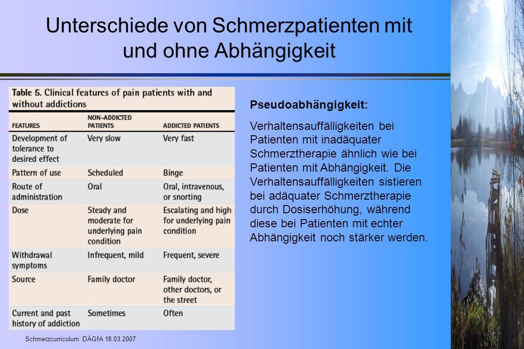 Schmerzcurriculum DÄGfA 18.03.2007 Unterschiede von Schmerzpatienten mit und ohne Abhängigkeit Pseudoabhängigkeit: Verhaltensauffälligkeiten bei Patie