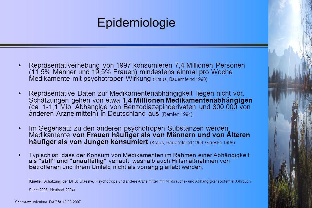 Schmerzcurriculum DÄGfA 18.03.2007 Epidemiologie Repräsentativerhebung von 1997 konsumieren 7,4 Millionen Personen (11,5% Männer und 19,5% Frauen) min