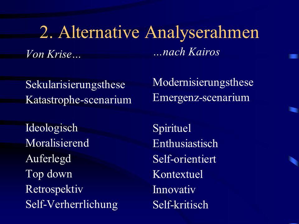 2. Alternative Analyserahmen Von Krise… Sekularisierungsthese Katastrophe-scenarium Ideologisch Moralisierend Auferlegd Top down Retrospektiv Self-Ver