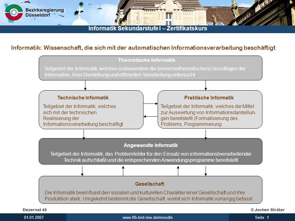 © Jochen SträterDezernat 46 www.lfb-brd.nrw.de/moodle 1Seite 01.01.2007 Informatik Sekundarstufe I – Zertifikatskurs Informatik: Theoretische Informat