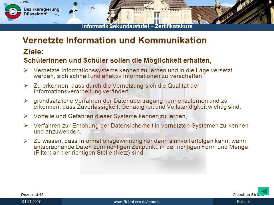 © Jochen SträterDezernat 46 www.lfb-brd.nrw.de/moodle 4Seite 01.01.2007 Informatik Sekundarstufe I – Zertifikatskurs Vernetzte Information und Kommuni