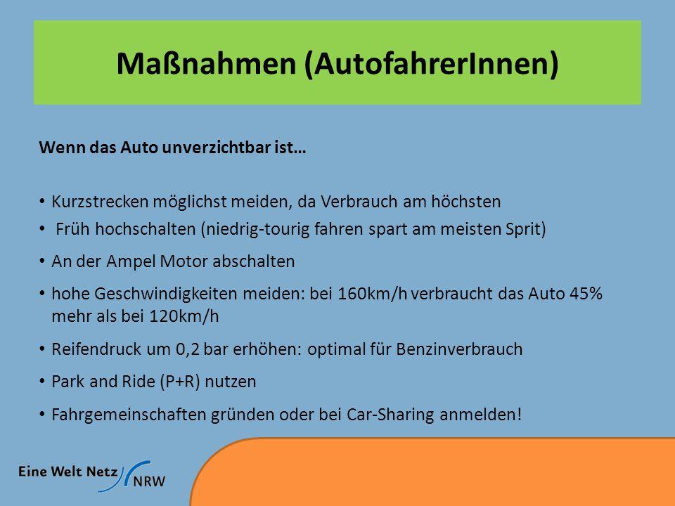 Maßnahmen (AutofahrerInnen) Wenn das Auto unverzichtbar ist… Kurzstrecken möglichst meiden, da Verbrauch am höchsten Früh hochschalten (niedrig-tourig fahren spart am meisten Sprit) An der Ampel Motor abschalten hohe Geschwindigkeiten meiden: bei 160km/h verbraucht das Auto 45% mehr als bei 120km/h Reifendruck um 0,2 bar erhöhen: optimal für Benzinverbrauch Park and Ride (P+R) nutzen Fahrgemeinschaften gründen oder bei Car-Sharing anmelden!