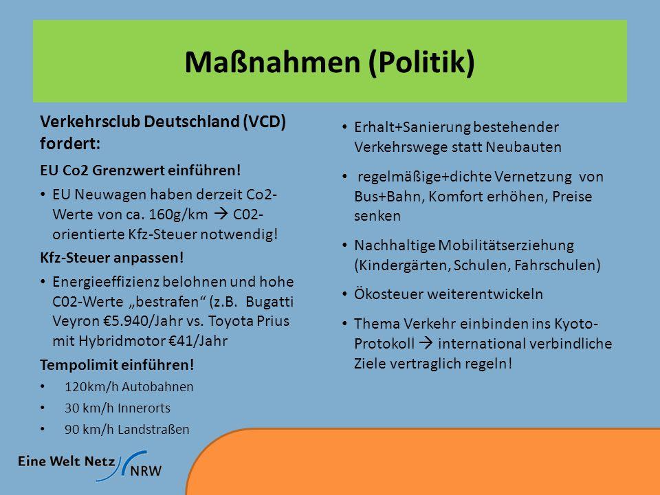 Maßnahmen (Politik) Verkehrsclub Deutschland (VCD) fordert: EU Co2 Grenzwert einführen.