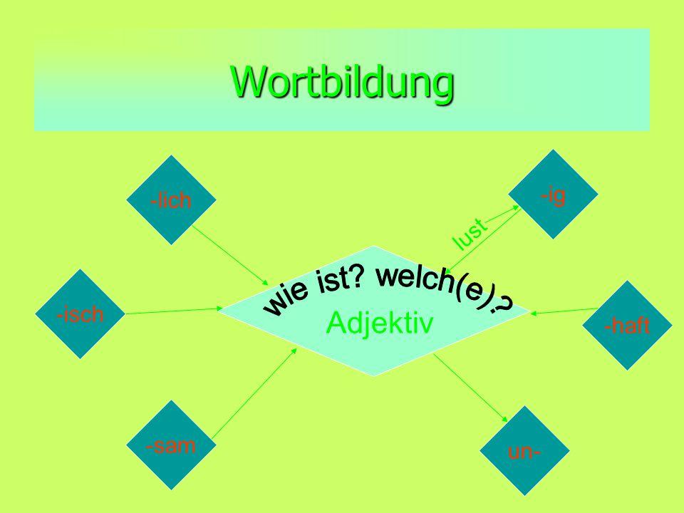Wortbildung -ig -lich -isch -haft -sam un- Adjektiv lust