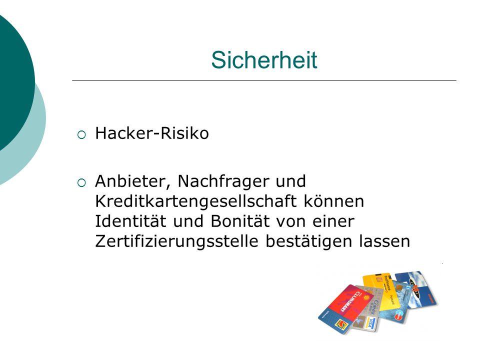 Sicherheit  Hacker-Risiko  Anbieter, Nachfrager und Kreditkartengesellschaft können Identität und Bonität von einer Zertifizierungsstelle bestätigen