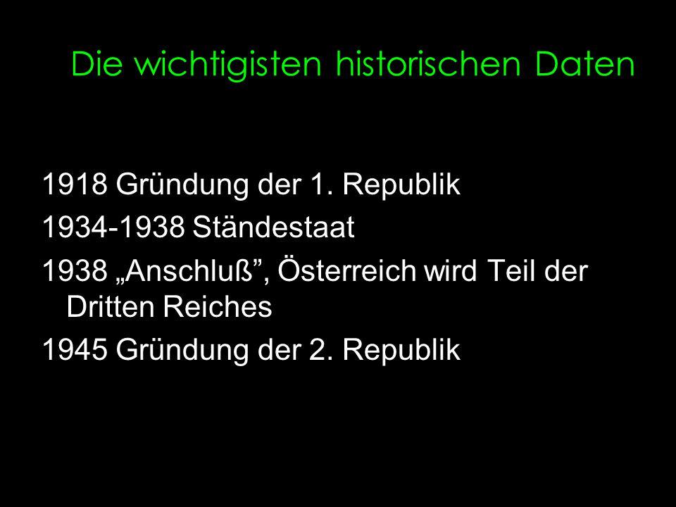 """Die wichtigisten historischen Daten 1918 Gründung der 1. Republik 1934-1938 Ständestaat 1938 """"Anschluß"""", Österreich wird Teil der Dritten Reiches 1945"""