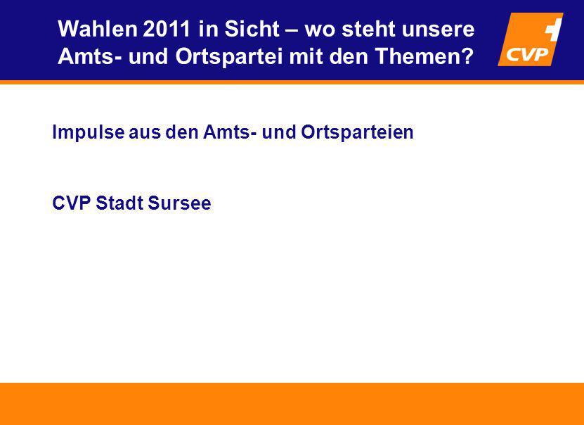 Impulse aus den Amts- und Ortsparteien CVP Stadt Sursee Wahlen 2011 in Sicht – wo steht unsere Amts- und Ortspartei mit den Themen?