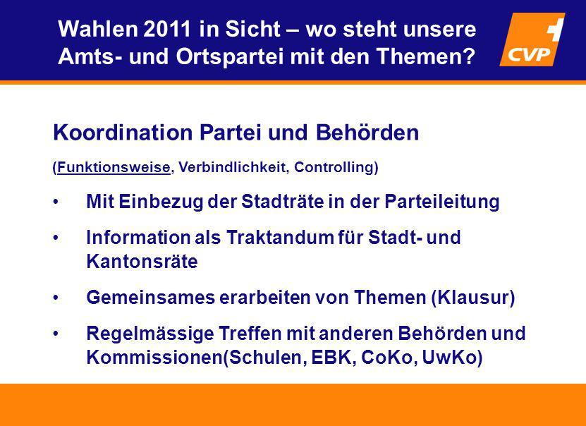 Koordination Partei und Behörden (Funktionsweise, Verbindlichkeit, Controlling) Mit Einbezug der Stadträte in der Parteileitung Information als Trakta