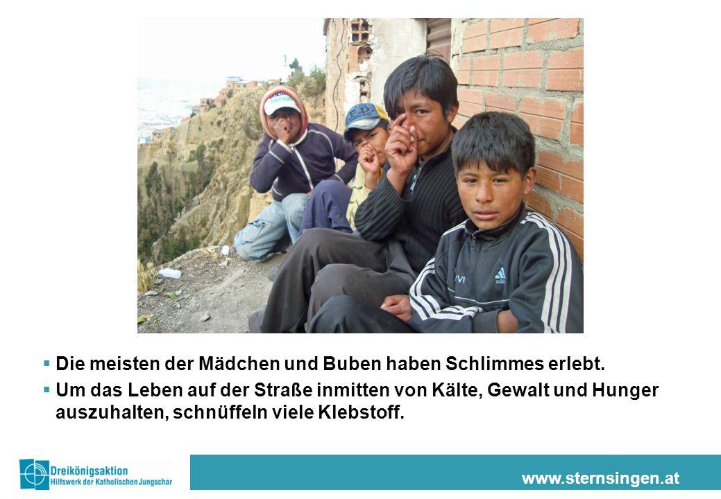 www.sternsingen.at  Die meisten der Mädchen und Buben haben Schlimmes erlebt.  Um das Leben auf der Straße inmitten von Kälte, Gewalt und Hunger aus