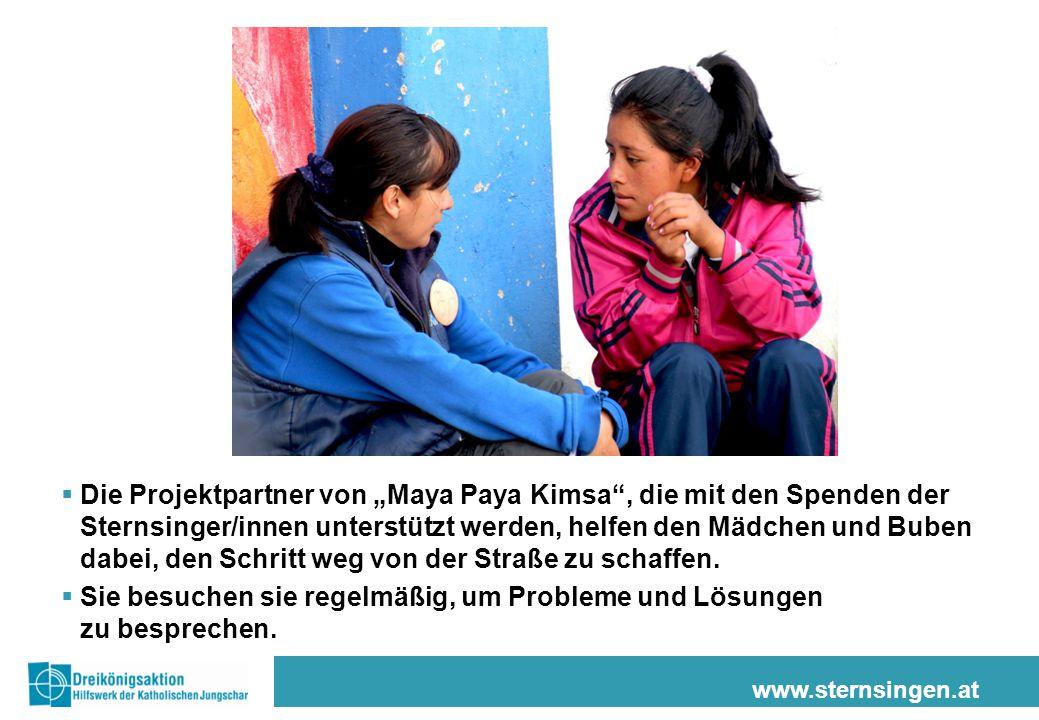 """www.sternsingen.at  Die Projektpartner von """"Maya Paya Kimsa"""", die mit den Spenden der Sternsinger/innen unterstützt werden, helfen den Mädchen und Bu"""