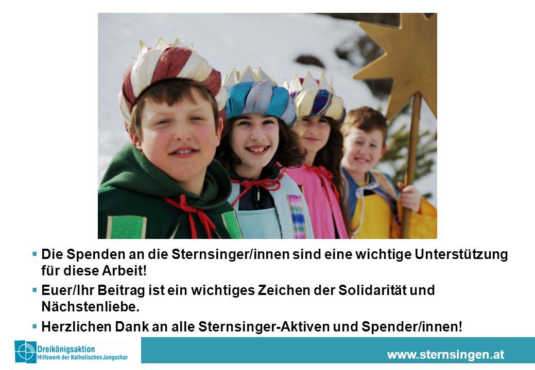www.sternsingen.at  Die Spenden an die Sternsinger/innen sind eine wichtige Unterstützung für diese Arbeit.