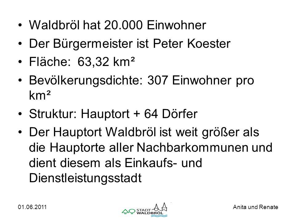 01.06.2011Anita und Renate Waldbröl hat 20.000 Einwohner Der Bürgermeister ist Peter Koester Fläche: 63,32 km² Bevölkerungsdichte: 307 Einwohner pro k