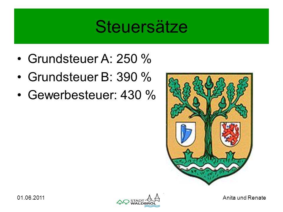 01.06.2011Anita und Renate Steuersätze Grundsteuer A: 250 % Grundsteuer B: 390 % Gewerbesteuer: 430 %