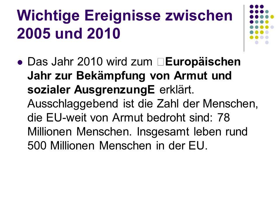 """Wichtige Ereignisse zwischen 2005 und 2010 Das Jahr 2010 wird zum """"Europäischen Jahr zur Bekämpfung von Armut und sozialer AusgrenzungE erklärt."""