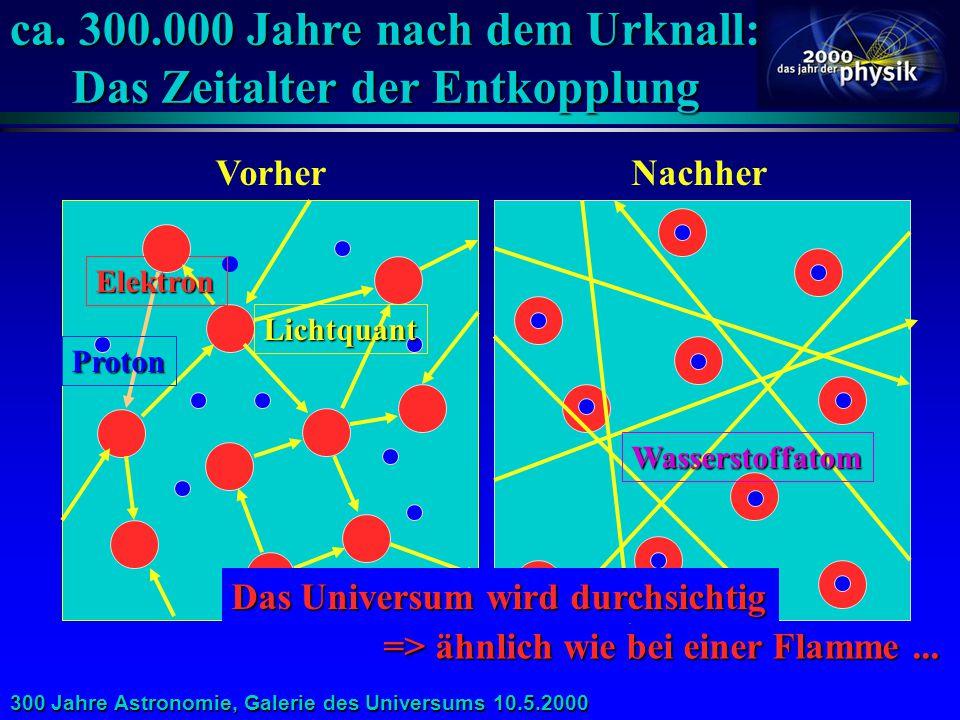 300 Jahre Astronomie, Galerie des Universums 10.5.2000 Der kosmologische Zeitplan