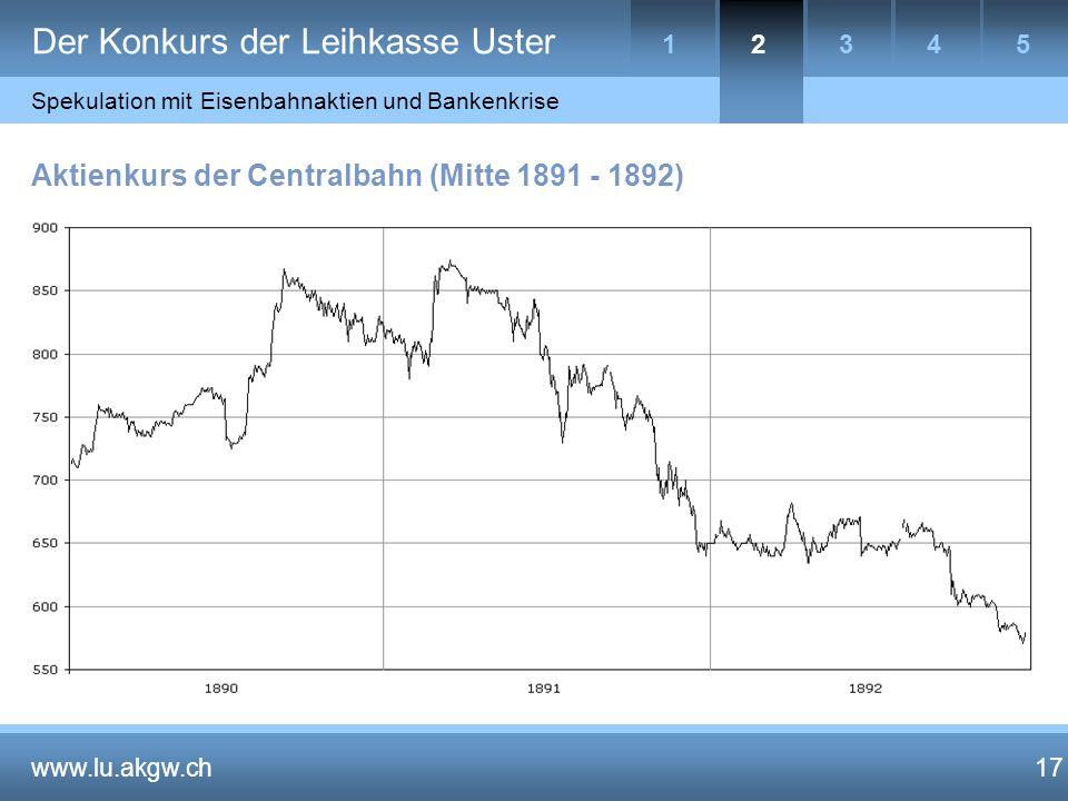 17 Aktienkurs der Centralbahn (Mitte 1891 - 1892) www.lu.akgw.ch 17 Der Konkurs der Leihkasse Uster 4153 Spekulation mit Eisenbahnaktien und Bankenkrise 2