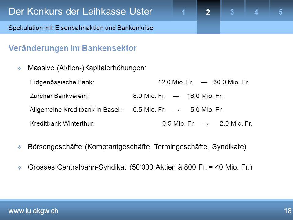 18 Veränderungen im Bankensektor  Massive (Aktien-)Kapitalerhöhungen: Eidgenössische Bank: 12.0 Mio.