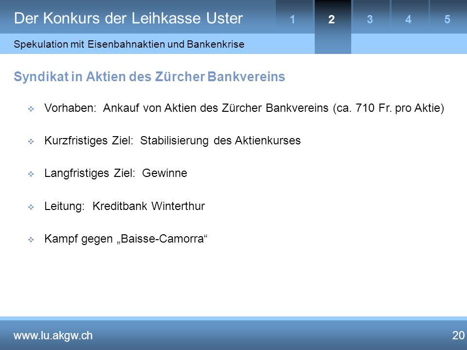 20 Syndikat in Aktien des Zürcher Bankvereins  Vorhaben: Ankauf von Aktien des Zürcher Bankvereins (ca.