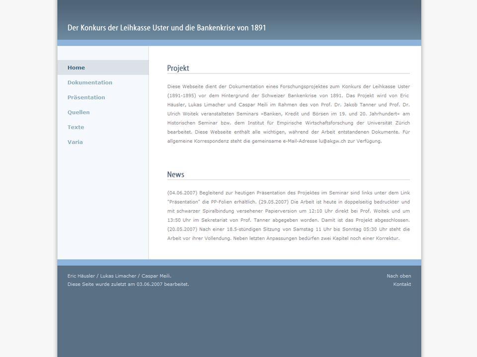 Der Konkurs der Leihkasse Uster 9 Webseite 42153 Der Weg zur Insolvenz der Leihkasse Uster www.lu.akgw.ch 9
