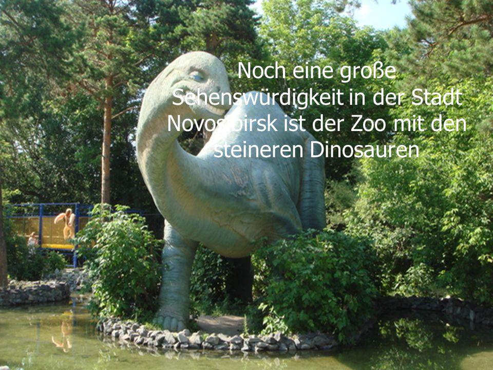 Noch eine große Sehenswürdigkeit in der Stadt Novosibirsk ist der Zoo mit den steineren Dinosauren