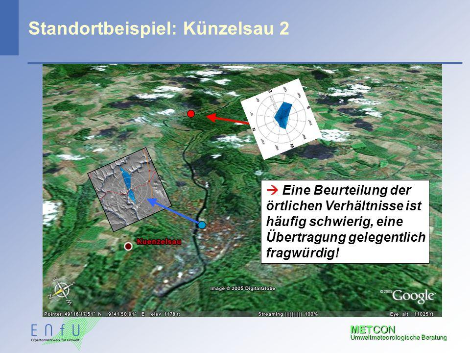 METCON Umweltmeteorologische Beratung Standortbeispiel: Künzelsau 2  Eine Beurteilung der örtlichen Verhältnisse ist häufig schwierig, eine Übertragu