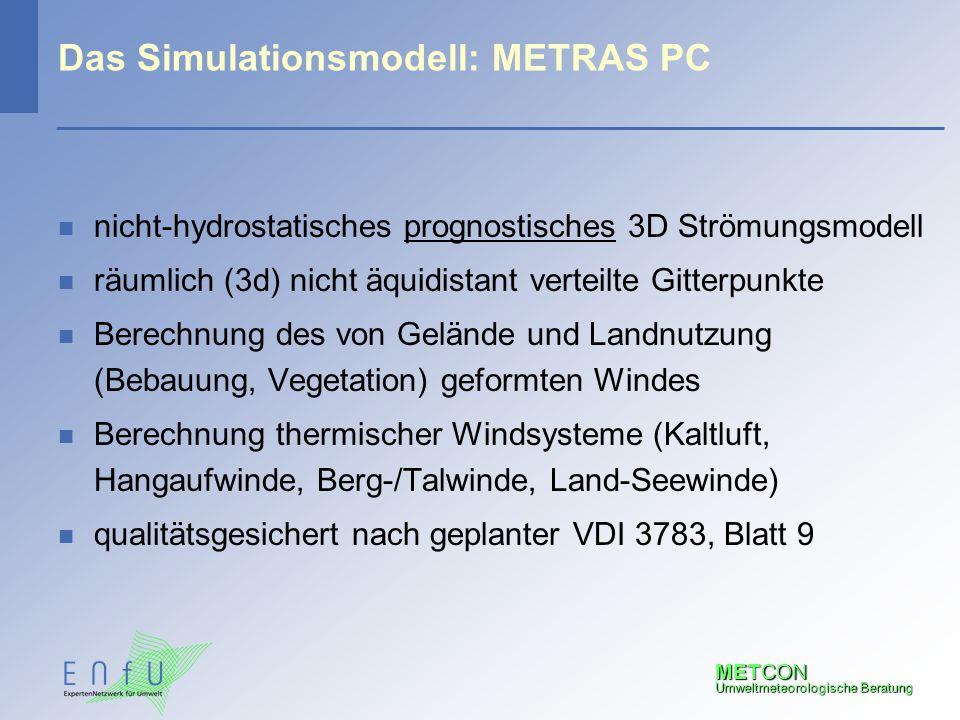 METCON Umweltmeteorologische Beratung Das Simulationsmodell: METRAS PC n nicht-hydrostatisches prognostisches 3D Strömungsmodell n räumlich (3d) nicht