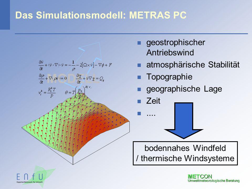 METCON Umweltmeteorologische Beratung Das Simulationsmodell: METRAS PC n geostrophischer Antriebswind n atmosphärische Stabilität n Topographie n geog