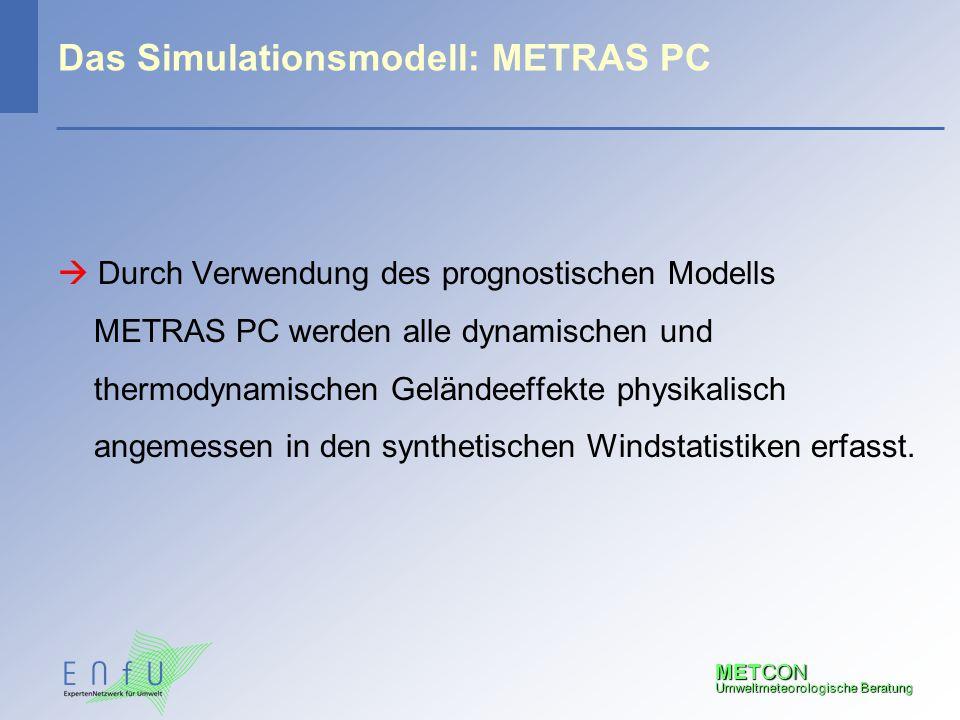 METCON Umweltmeteorologische Beratung Das Simulationsmodell: METRAS PC  Durch Verwendung des prognostischen Modells METRAS PC werden alle dynamischen