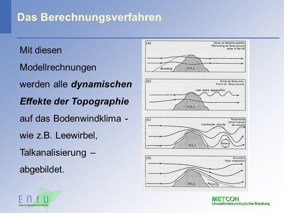 METCON Umweltmeteorologische Beratung Das Berechnungsverfahren Mit diesen Modellrechnungen werden alle dynamischen Effekte der Topographie auf das Bod