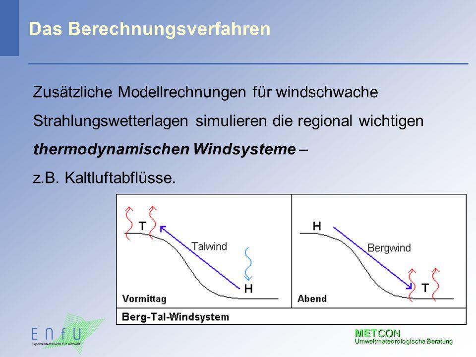METCON Umweltmeteorologische Beratung Das Berechnungsverfahren Zusätzliche Modellrechnungen für windschwache Strahlungswetterlagen simulieren die regi