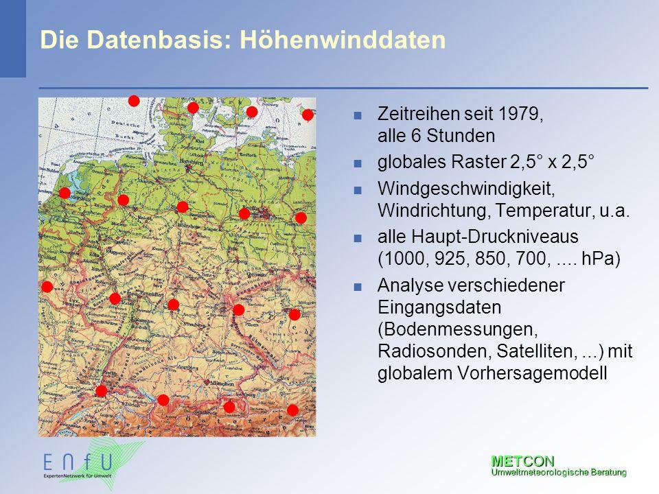 METCON Umweltmeteorologische Beratung Die Datenbasis: Höhenwinddaten n Zeitreihen seit 1979, alle 6 Stunden n globales Raster 2,5° x 2,5° n Windgeschw