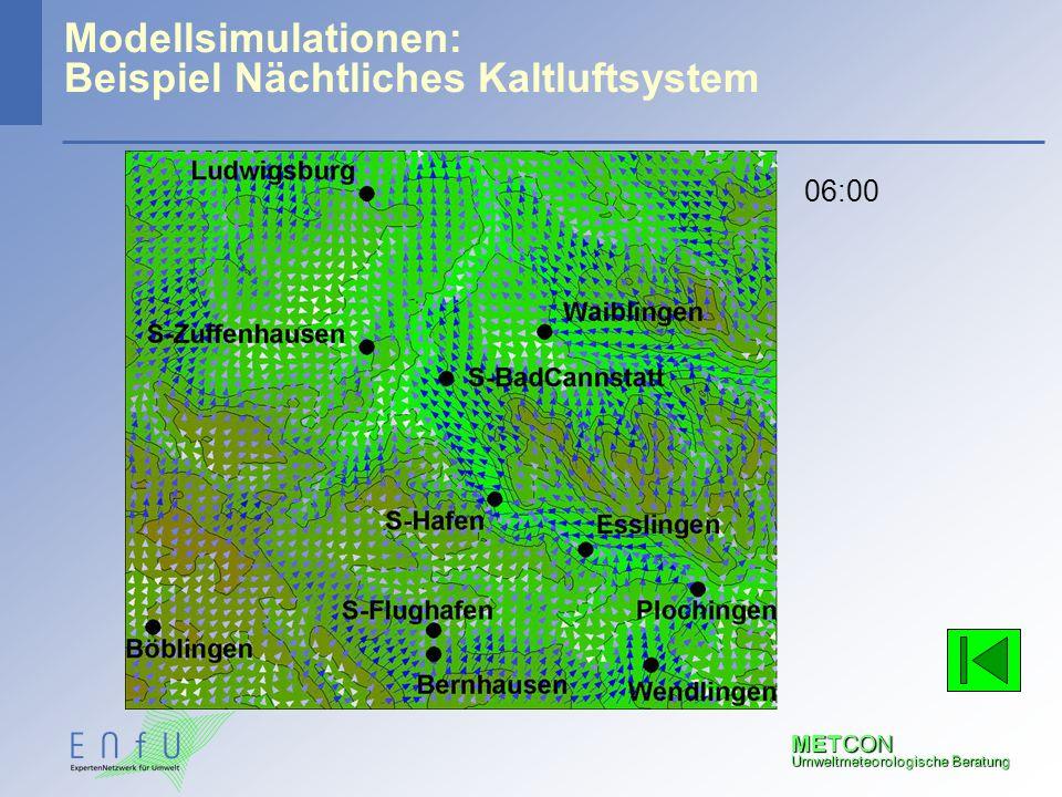 METCON Umweltmeteorologische Beratung Modellsimulationen: Beispiel Nächtliches Kaltluftsystem 06:00