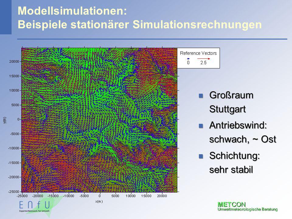 METCON Umweltmeteorologische Beratung Modellsimulationen: Beispiele stationärer Simulationsrechnungen n Großraum Stuttgart n Antriebswind: schwach, ~