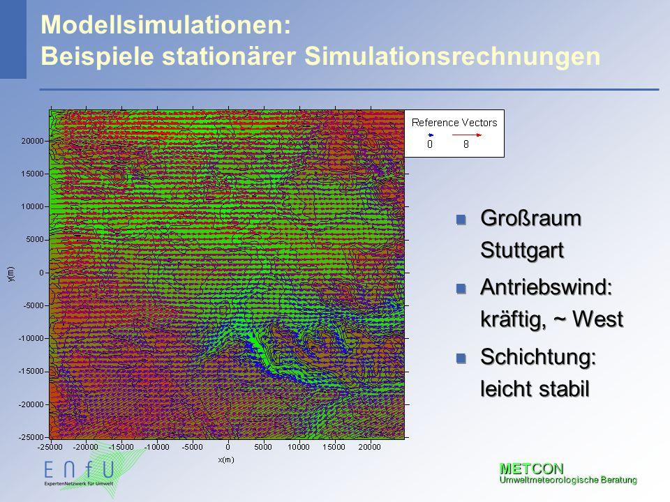 METCON Umweltmeteorologische Beratung Modellsimulationen: Beispiele stationärer Simulationsrechnungen n Großraum Stuttgart n Antriebswind: kräftig, ~