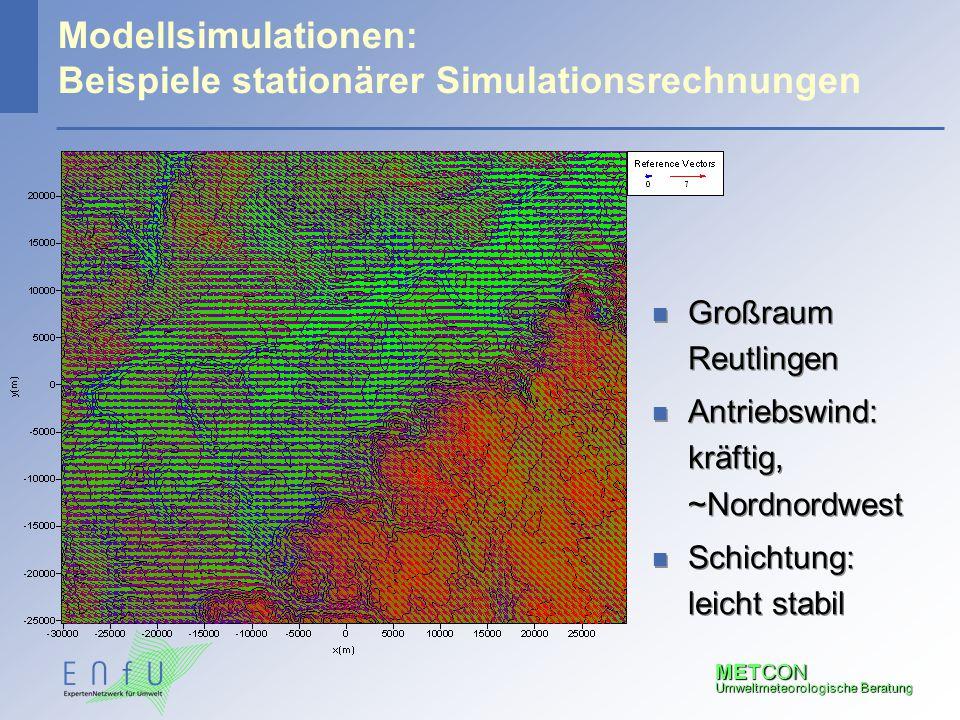 METCON Umweltmeteorologische Beratung Modellsimulationen: Beispiele stationärer Simulationsrechnungen n Großraum Reutlingen n Antriebswind: kräftig, ~